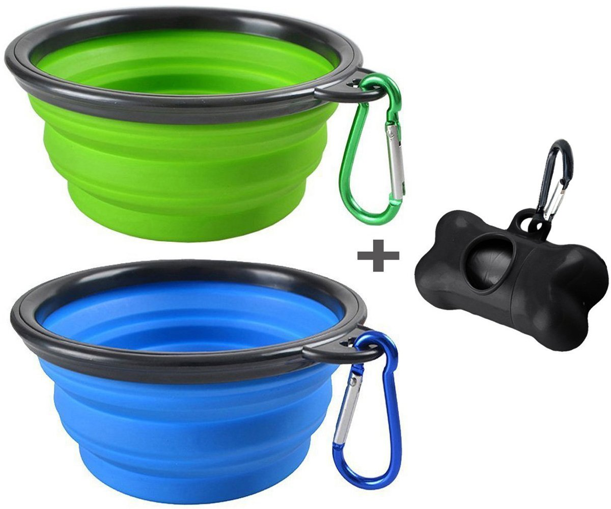 MOGOCO 2 Pack Large Portable Collapsible Dog Bowl,Foldable Travel Bowl Dish for Pet Dog Cat Food Water Feeding,Including a Black Poop Bag Holder Dispenser and a Roll of Bags,(Blue and Green)