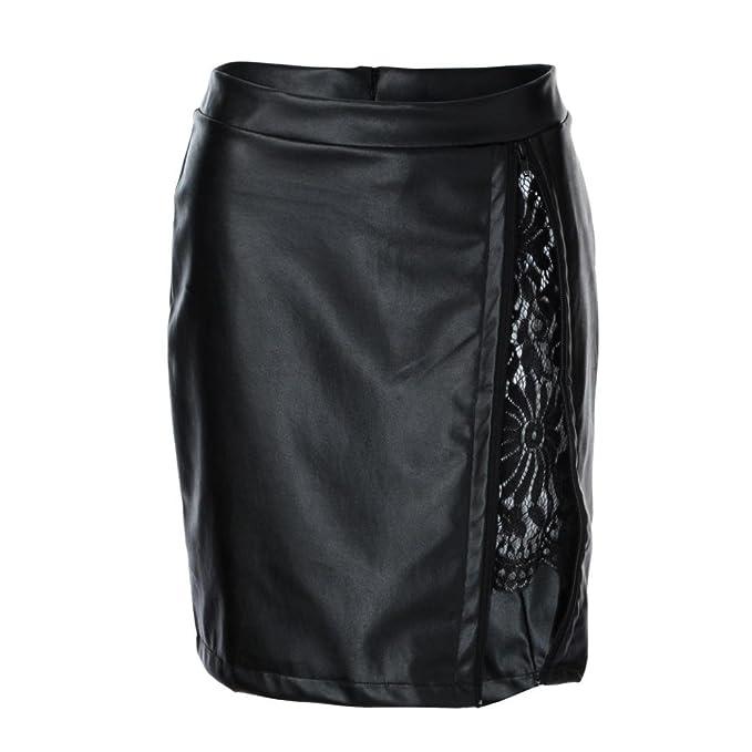 Damen Rock, Frauen Sommer Mode Sexy Leder Spitze Kurz Faltenrock Mini Rock  Schwarz mit Reißverschluss 1f3a0b85a7