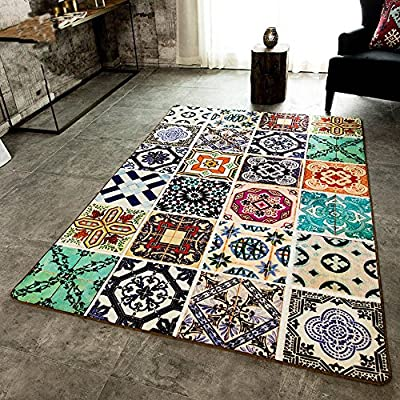 Wolala Home Gorgeous Ethnic Style Printing Splice Geometric Pattern Rectangular Living Room Area Rugs