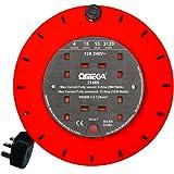 Omega 15 m Extension Reel with 4 Way Output Socket - Orange