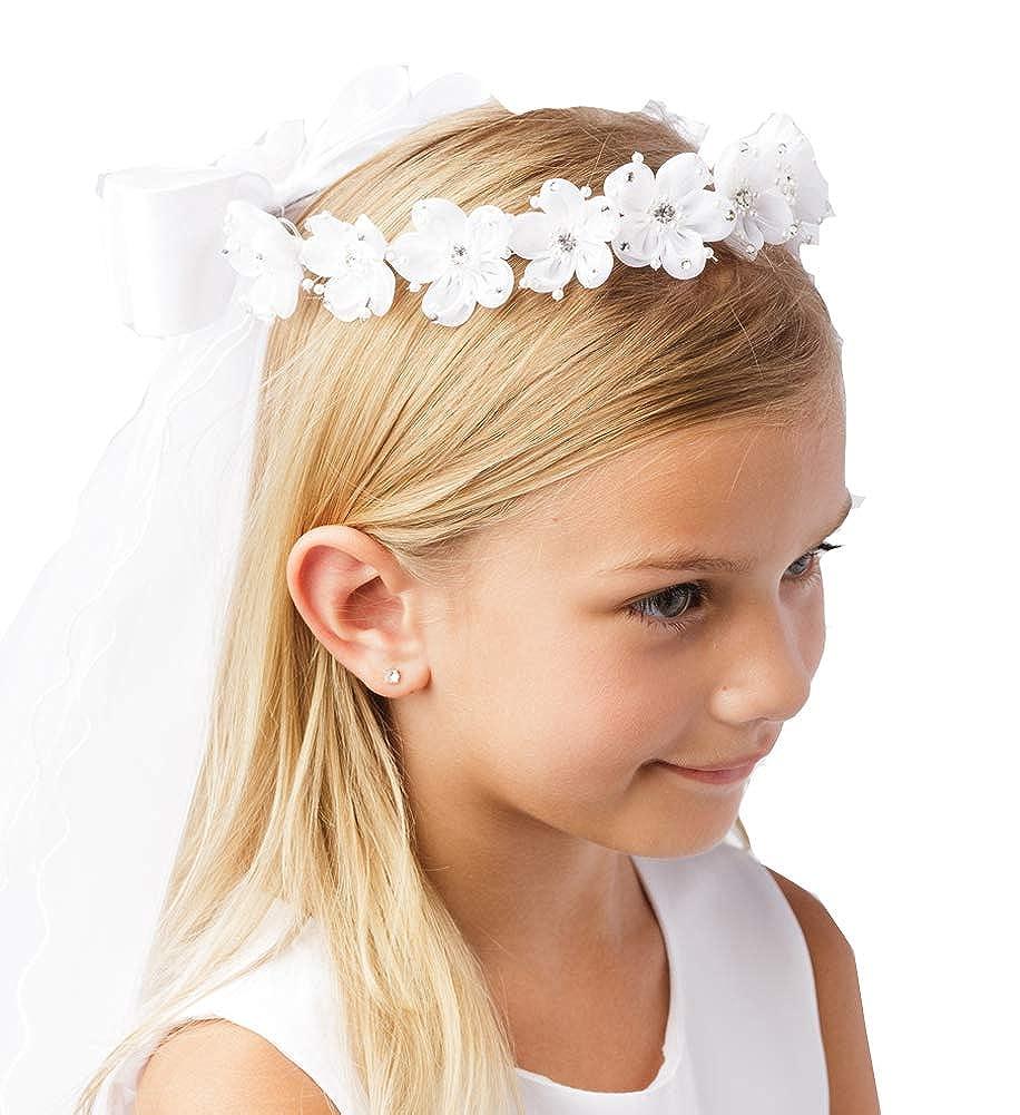 Girls White Pearl Rhinestone Center Floral Crown First Communion Flower Girl Head Wreath with Veil
