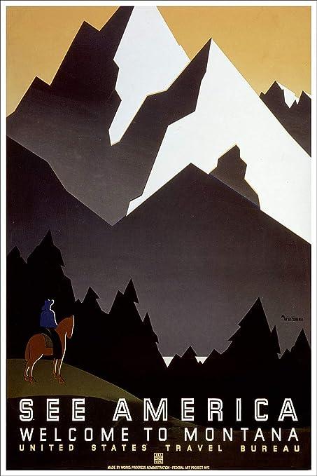 Amazon com: - See America Welcome to Montana WPA Vintage
