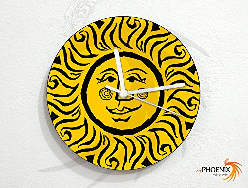 Price comparison product image Sun - Yellow Art Face - Universe Stars Space Galaxy Solar Planet - Custom Name Wall Clock