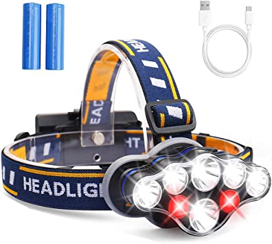 Rechargeable Headlamp 6 LED 8 Modes 18650 USB Rechargeable Waterproof Flashlight