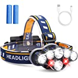 Headlamp, Headlight 13000 Lumen 8 LED 8 Modes 18650 USB Rechargeable Waterproof Flashlight with Red Light Head Lamp Camping Gear for Adults Men Camping Hunting Running Hiking Fishing Reading