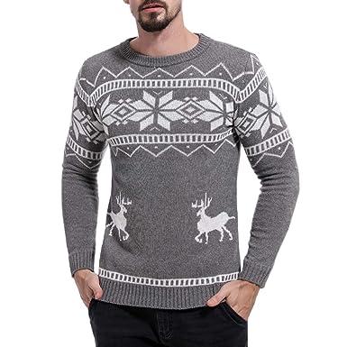 Celucke Norweger Pullover Herren Strickpullover Warm