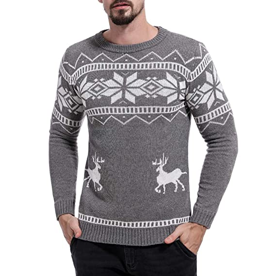 Celucke Norweger Pullover Herren Strickpullover Warm Strickjacke Winter  Feinstrick Weihnachtspullover Basic Rundhals Langarm Sweater a4fec28764