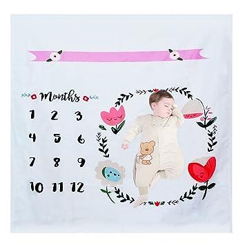 Amazon.com: Manta de bebé con diseño de hito mensual, para ...