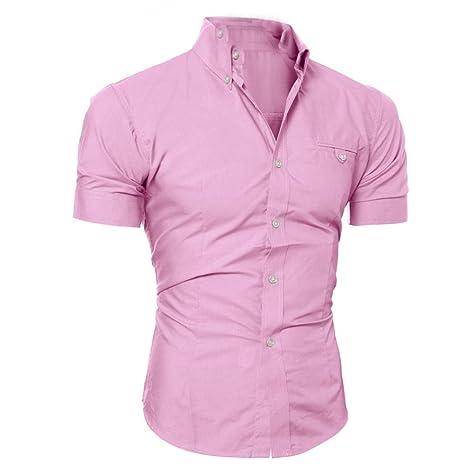 Camiseta Hombres,LMMVP Camisa casual para hombres Slim Fit manga corta Moda Negocio Elegante (