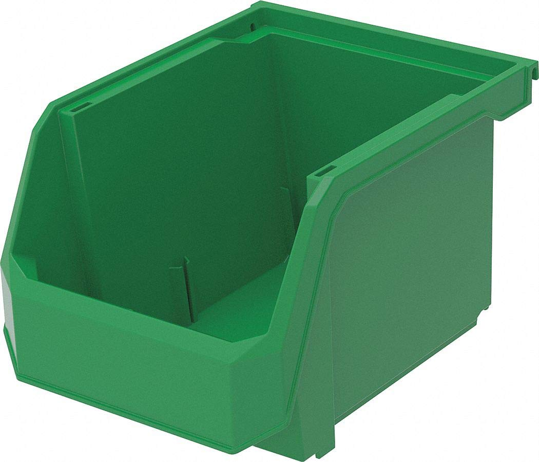 Hang and Stack Bin, Green, 11'' Outside Length, 8-1/4'' Outside Width, 7'' Outside Height pack of 5