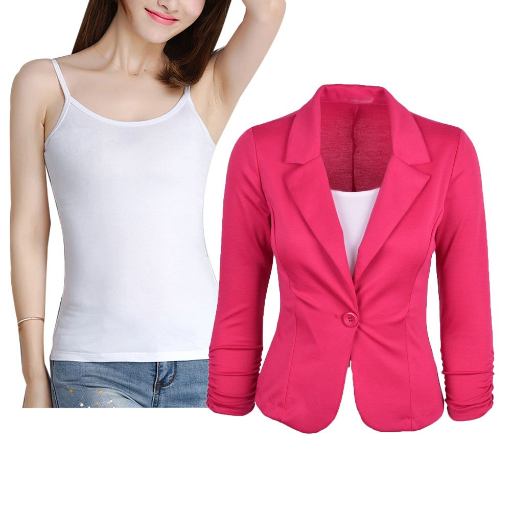 Donalworld Women Slim Blazer Jacket Suit Work Casual Basic Button Coat Shirt DWCT019