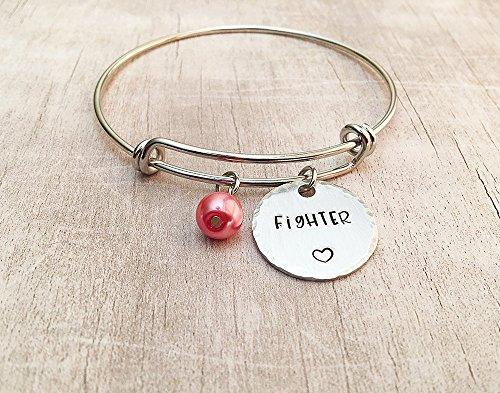 - Breast Cancer Awareness Fighter Bangle Charm Bracelet