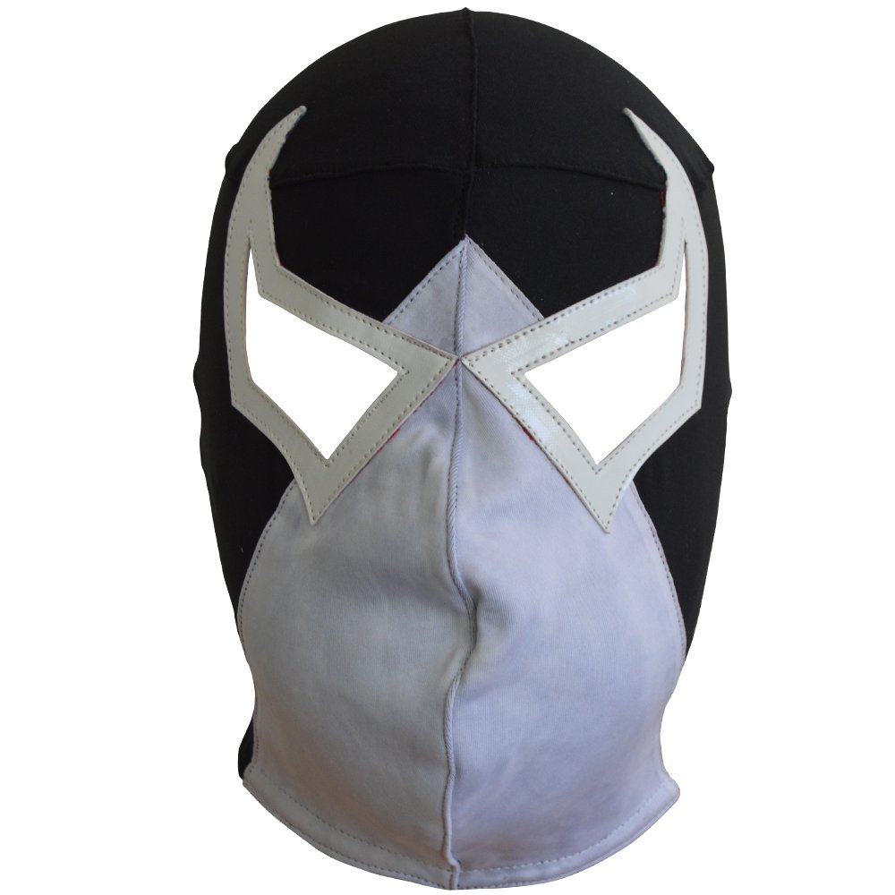 Made in Mexico Bane villan Luchador Mask Lucha Libre Wrestling Mask (Pro-Fit) Costume Wear - Black/White