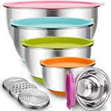 Mixing Bowls with Airtight Lids, Blingco Stainless Steel Metal Nesting Bowls Set of 5, Size 5, 3, 2, 1.5, 0.63 QT, 3…