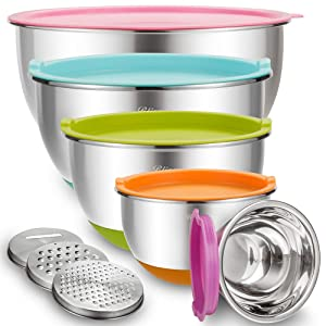 Mixing Bowls with Airtight Lids, Blingco Stainless Steel Metal Nesting Bowls Set of 5, Size 5, 3, 2, 1.5, 0.63 QT, 3 Grater Attachments, Measurement Marks & Colorful Non-Slip Bottoms