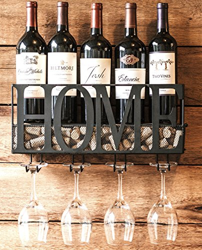 MKZ Products Wall Mounted Metal Wine Rack Bottle & Glass Holder Cork Storage by MKZ Products