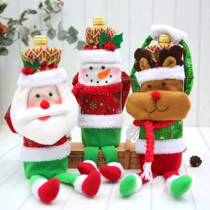 Fuxitoggo Decoración navideña, Adornos Hechos a Mano, café, Set de Vino, Cubierta, Botella de Vino, muñeca, decoración para el hogar, Manualidades, ...