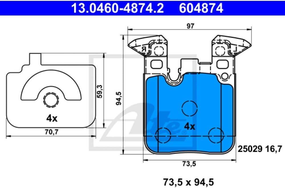 ATE 13.0460-4874.2 Bremsbelagsatz Scheibenbremse