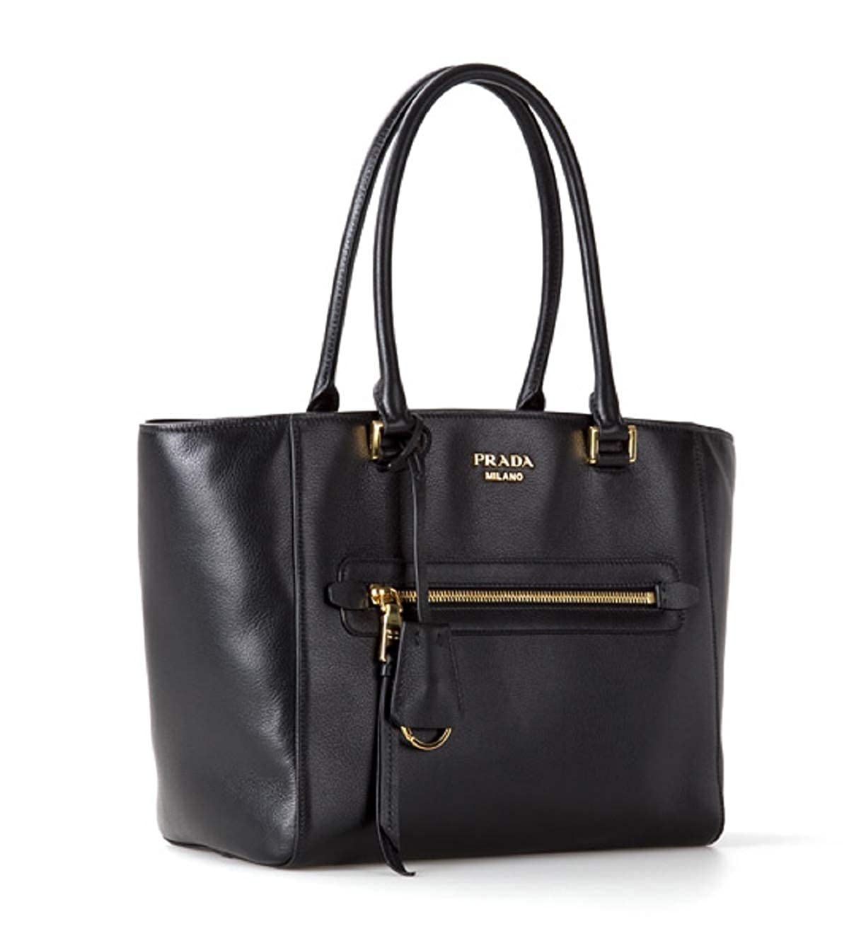 Prada Twins Pocket Black Medium Glace Calf Leather Tote Shoulder Bag  1BG227  Handbags  Amazon.com