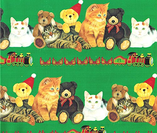 Cats Teddy Bears and Trains Christmas Gift Wrap and Gift Tags