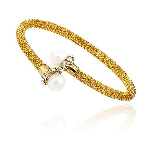 Mahi Gold Plated Kada with Crystal for Women BA1100805G Women's Bangles & Bracelets at amazon