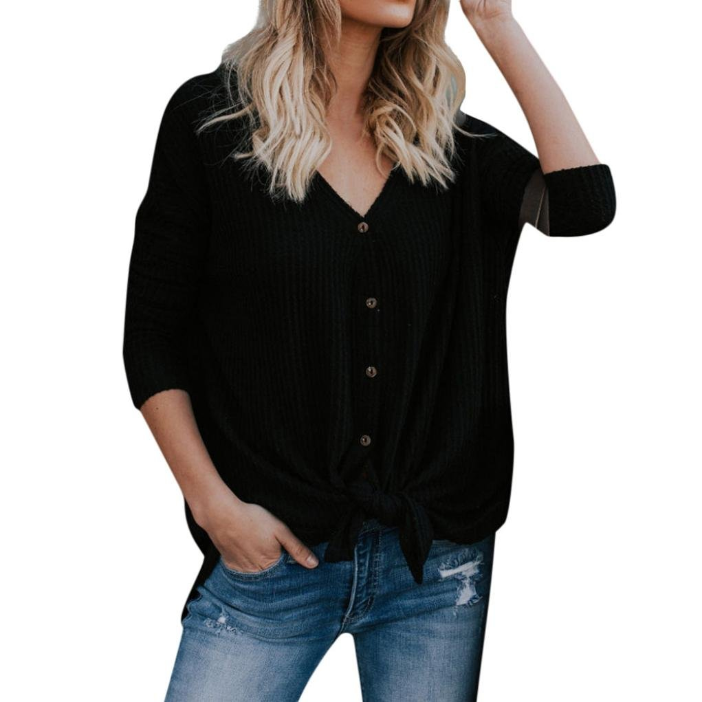 829776e7c84 Top1       ODGear Womens Waffle Knit Tunic Blouse Tie Knot Henley Tops Bat  Wing Plain Button Shirts Hot Clearance