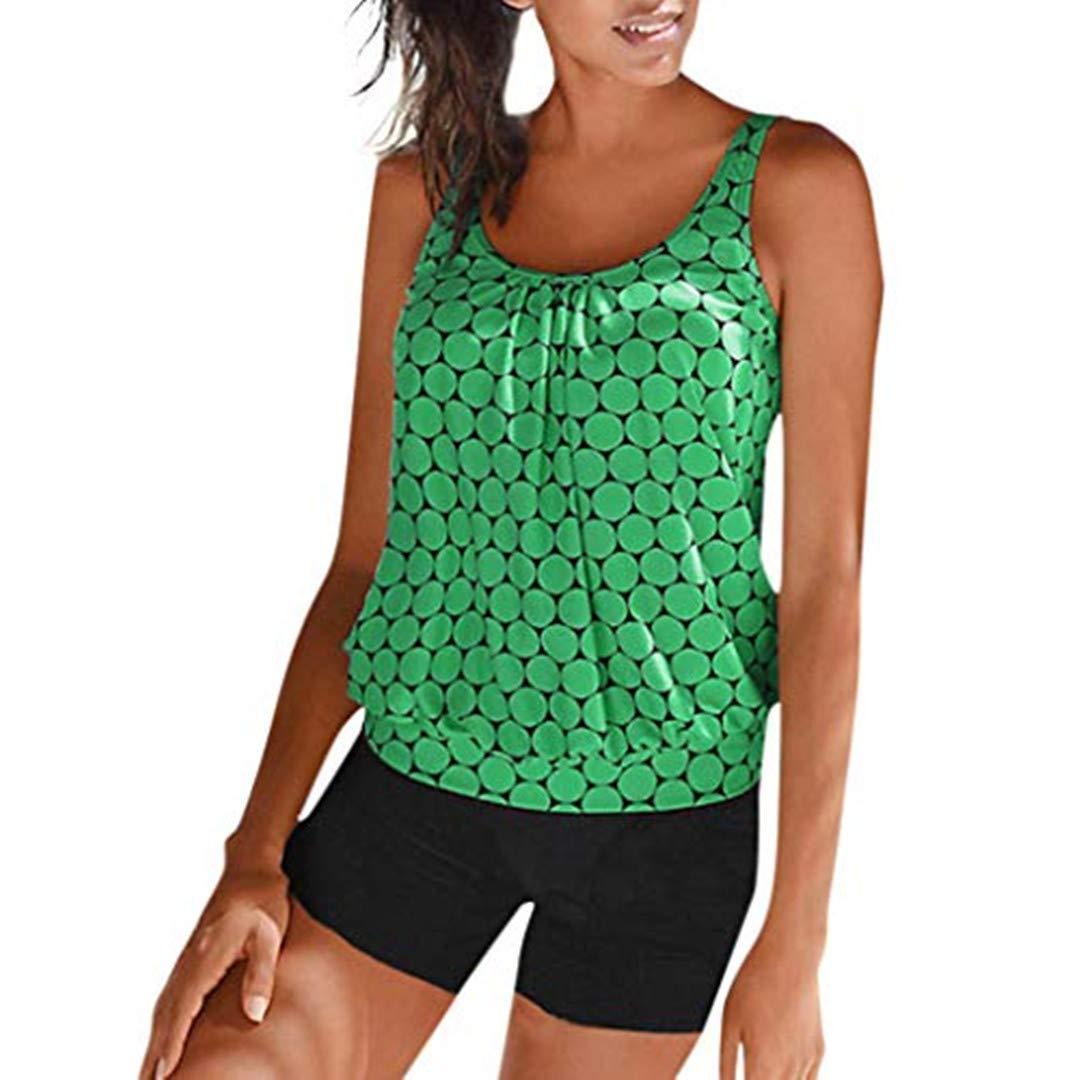 ITISME Damen Plus Size DotPrint Tankini Swimjupmsuit Badeanzug Beachwear Gepolsterte Badebekleidung