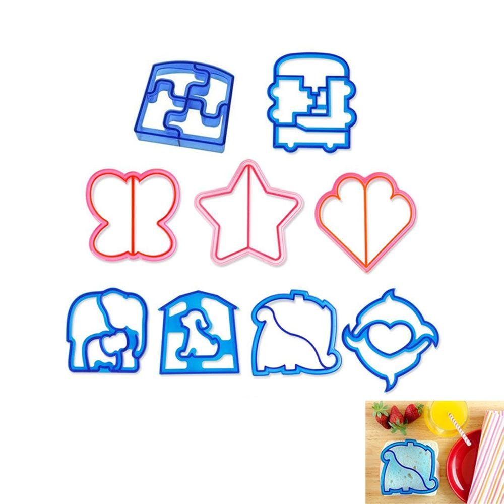 9pcs Sandwich Cutter / Crust Cutters / Cookie and Bread Presses Cutters Shapes for Kids,Random Color