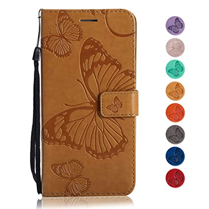 Funda Galaxy A3 2016, GORASS PU Flip de mariposa en relieve ...