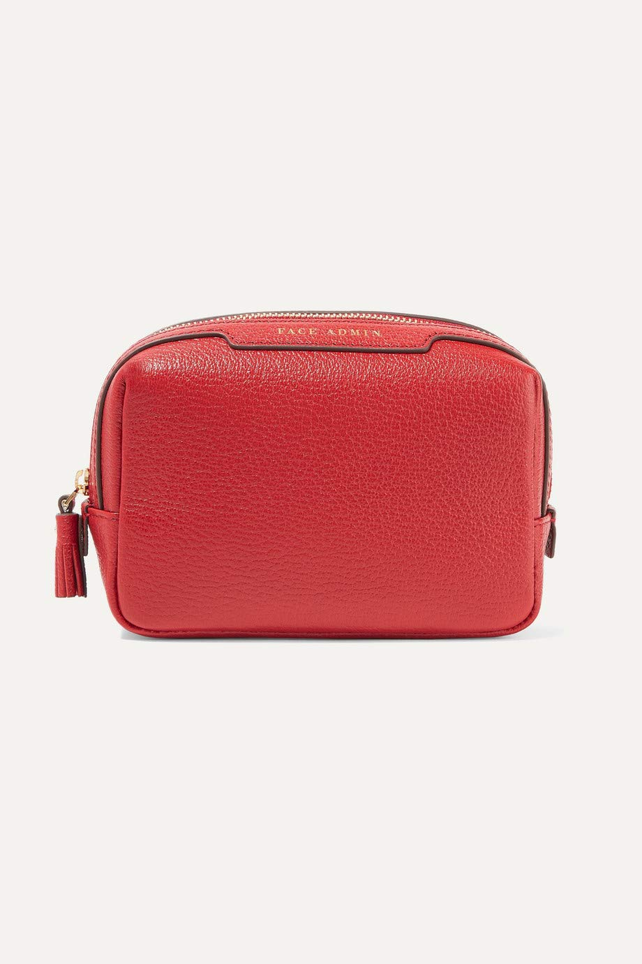 ANYA HINDMARCH Face Admin textured-leather cosmetics case, Red Carpa, Limited Edition