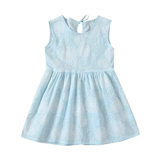 b86ff0c44511 Euone® Toddler Girls Floral Print Dress Kids Summer Sleeveless Dresses  Outfits (0-1