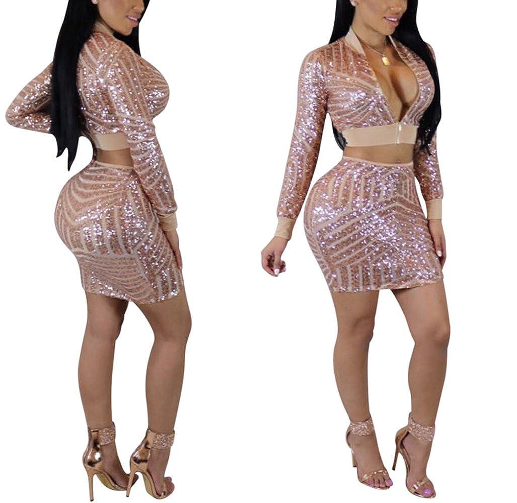 BEQUEEN Womens V Neck Zipper Sequined Mini Club Party 2 Pcs Sets Dress