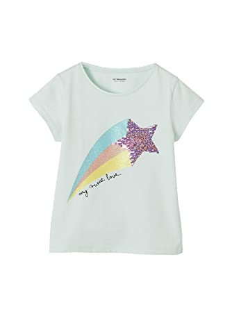 821558b7b1410 Vertbaudet T-Shirt Magique Fille à Sequins réversibles et Paillettes Bleu  Pale 14 A