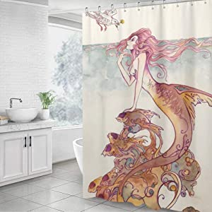 "GXQQ Rustic Mermaid Shower Curtain Set with Hook, Vintage Mermaid Tail Bird Goldfish Ocean Design Boho Rustic Bathroom Shower Curtains Decorative Bathroom, 60""W x 72""H"