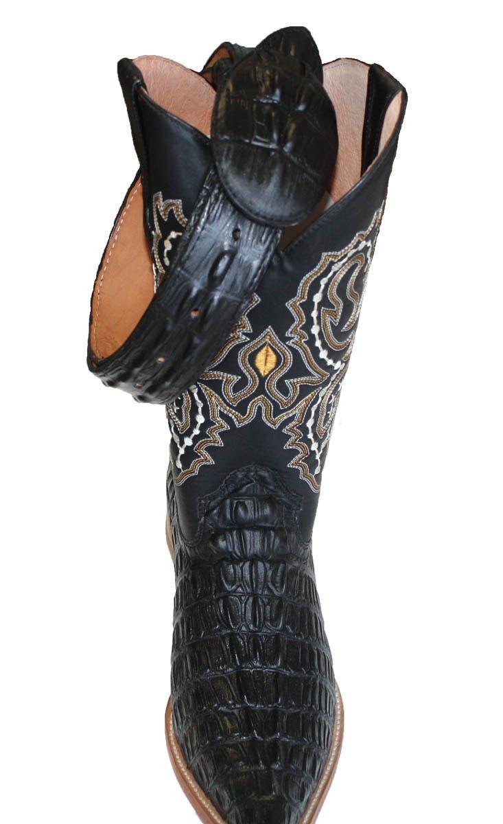 MENS WESTERN COWBOY CUERO COCODRILO IMPRESO (en relieve) BOTAS   CORREA  LIBRE Negro 95013e35bc0
