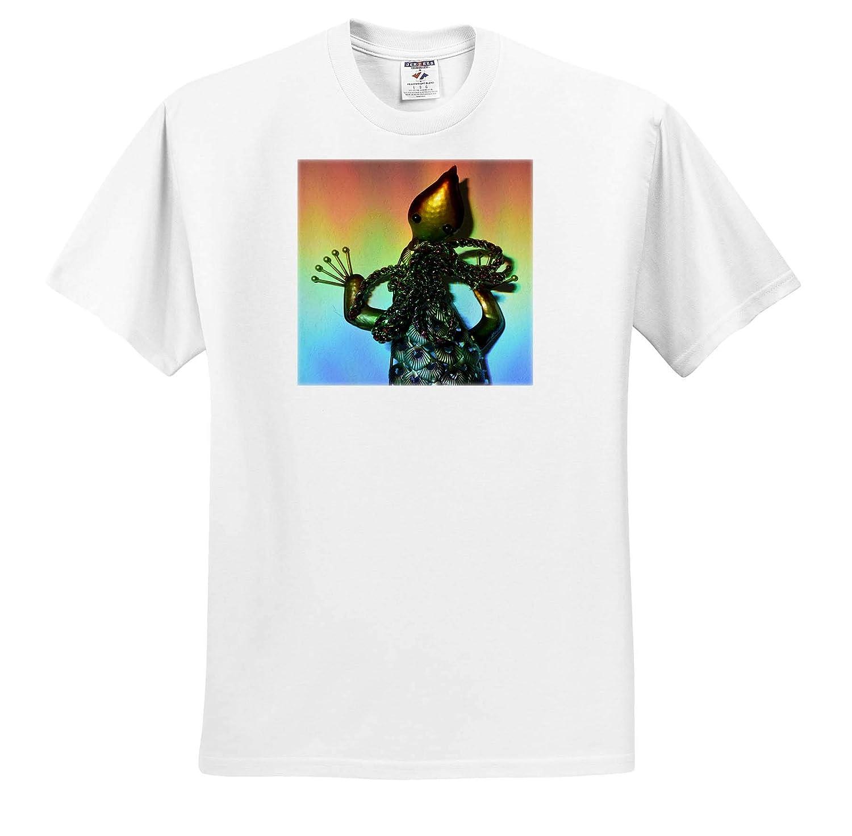 3dRose Susans Zoo Crew Scenery T-Shirts Metal Lizard in Sun Rainbow