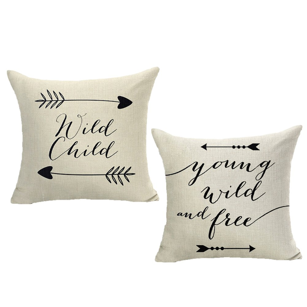 Qinqingo Throw Pillow Cover Inspirational Quote and Arrow Cotton Linen Decorative Throw Pillow Case Cushion Cover 18'' X 18'' Set of 2 (Wild Child & Young Wild and Free)