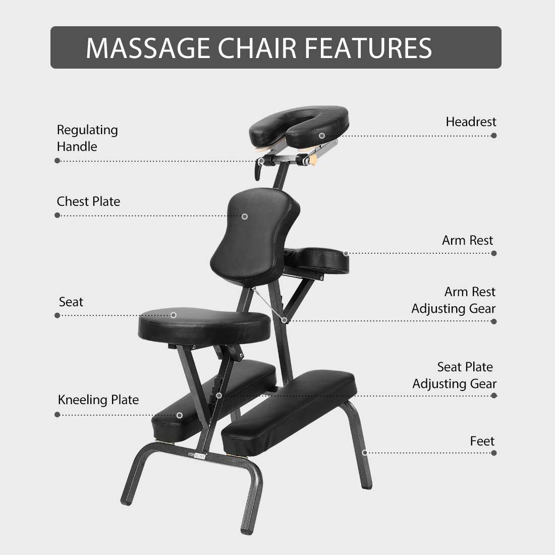 VIVOHOME Folding Massage Tattoo Chair Adjustable Face Cradle Portable Travel Spa Chair with Carrying Bag Black: Kitchen & Dining