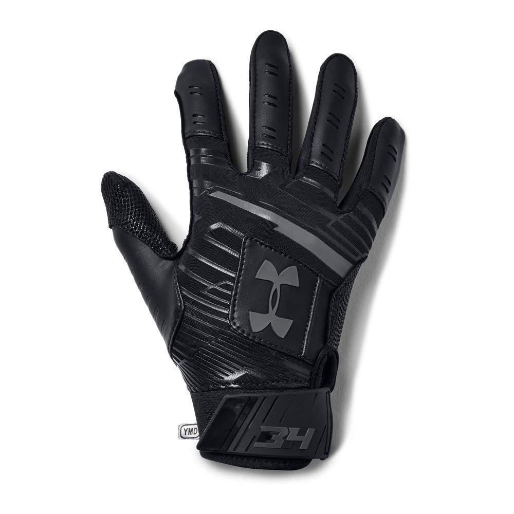 Under Armour Boys' Harper Hustle Baseball Batting Gloves,Black (001)/Graphite,Youth Small