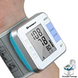 Perbeat Blood Pressure Monitor Wrist Cuff Auto Digital Heart Rate Pulse Monitor Kits for Travel and Home Use, 2 Users Mode, Memory Recall, Fits for Standard, Large Arms.