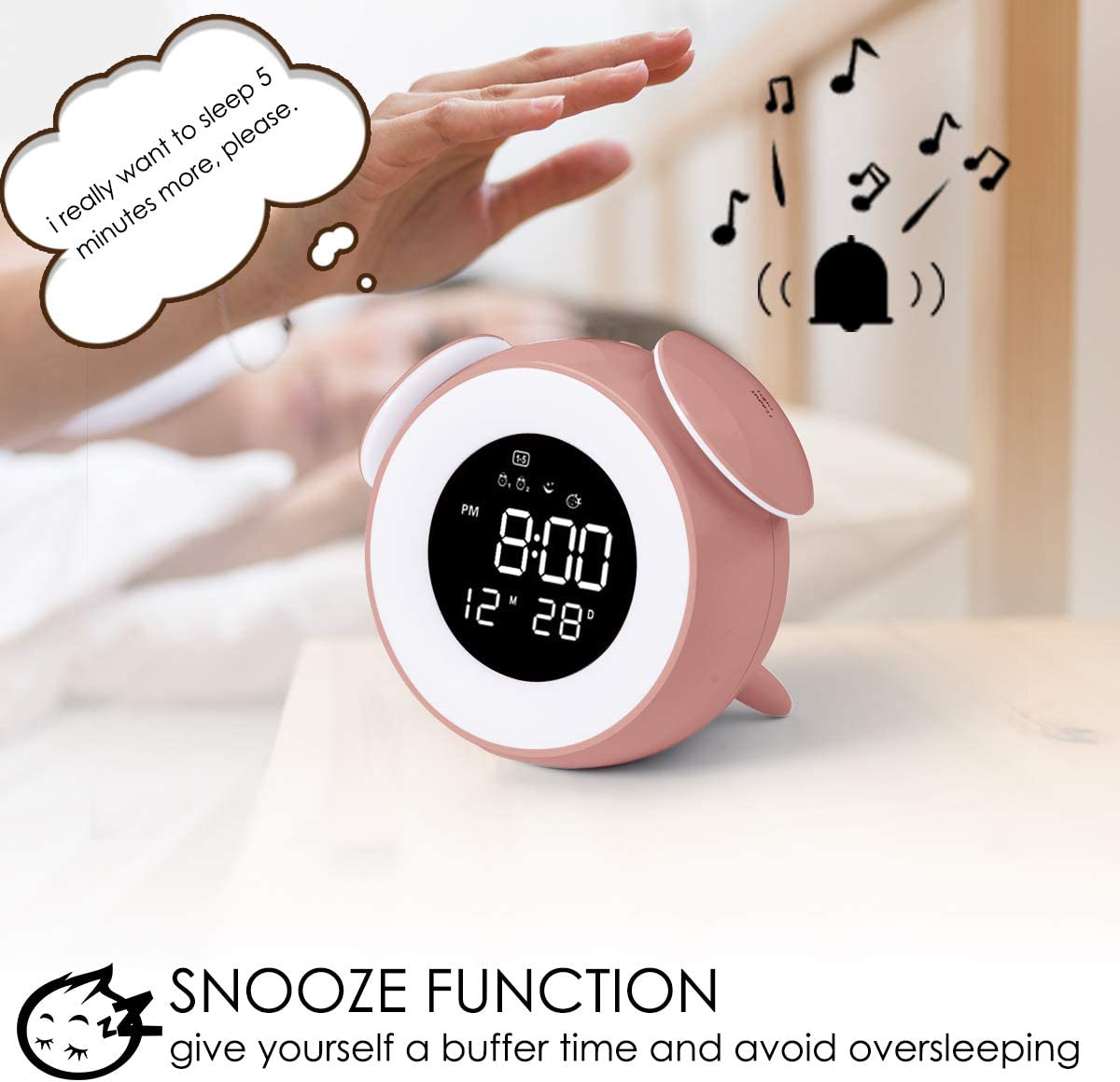 Bedroom Blue Kids Alarm Clock Dual Alarms Wake Up Light Night Light Table Bedside Lamp with Snooze Touch Control Function 25 Natural Sounds USB Charging Port for Bedside HOMVILLA Alarm Clock