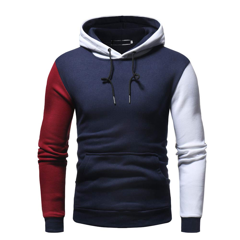 Men Blouse Teen Boy Patchwork Fleece Coat Blouse Casual Sweatshirt Hoodies