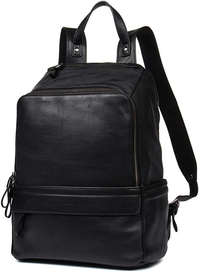 DANJUE new mens bag business casual top layer leather mens backpack travel outdoor backpack D195-1 black