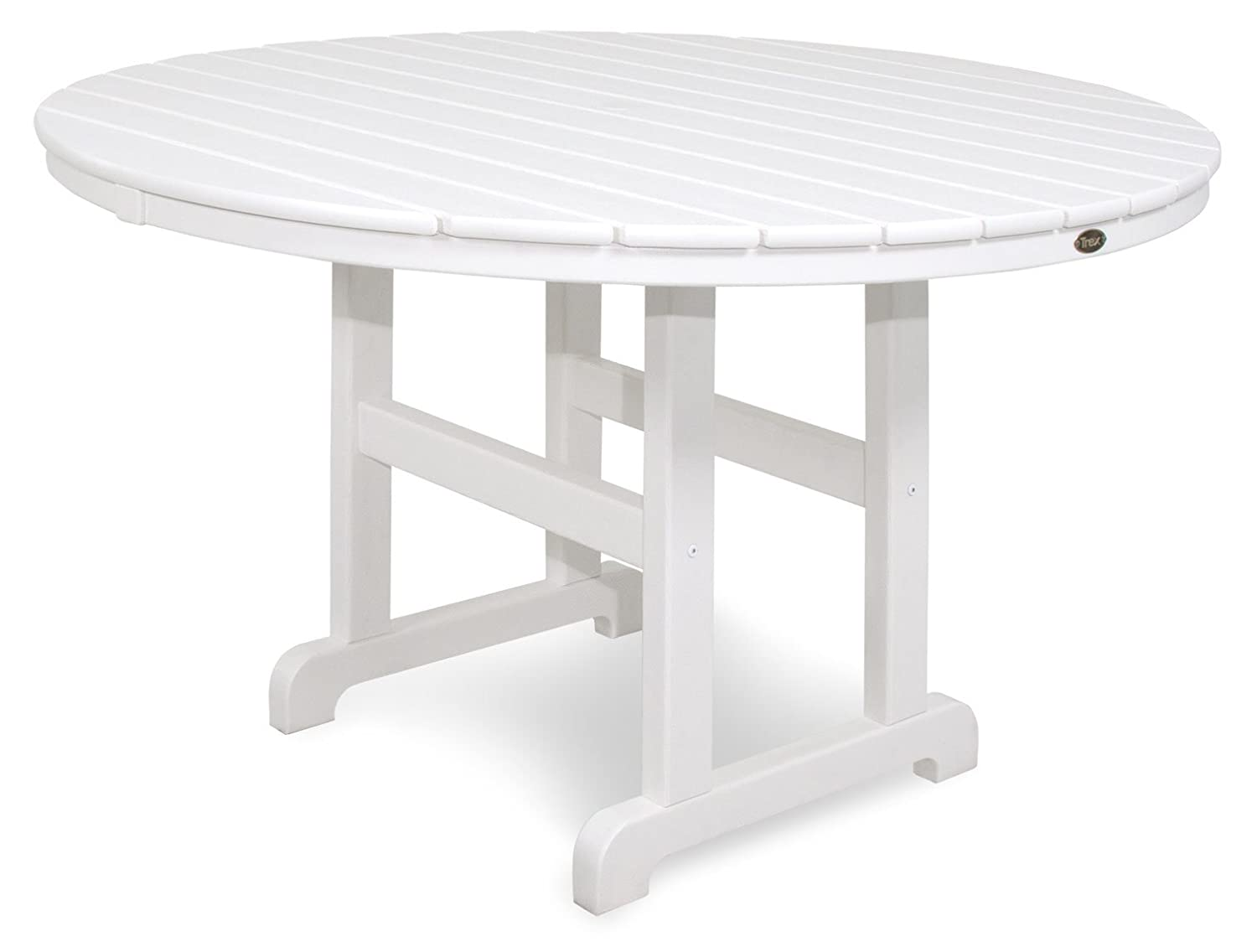 Trex Outdoor Furniture TXRT248CW Monterey Bay Round Dining Table, 48-Inch, Classic White