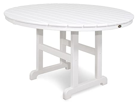 Trex Outdoor Furniture TXRT248CW Monterey Bay Round Dining Table, 48 Inch,  Classic White