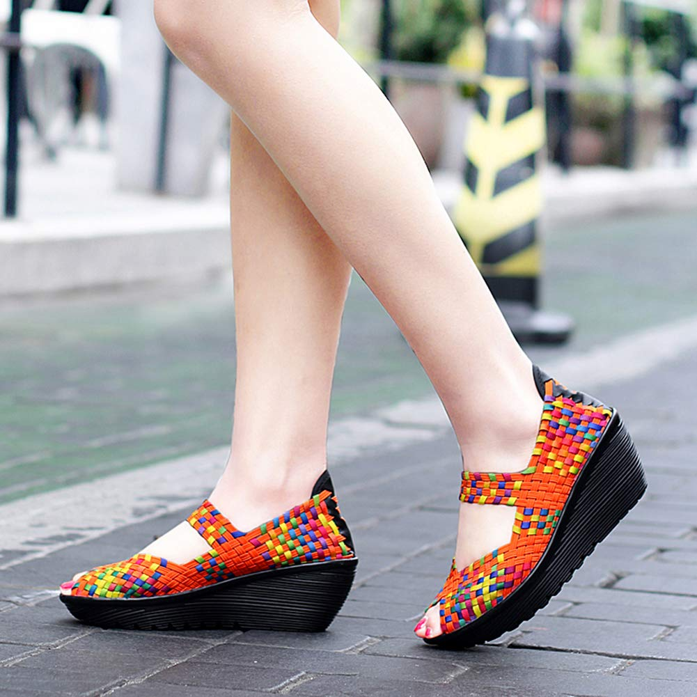 Zeppa Piattaforma Tacco Mary Janes Tessere Estate Traspirante Casual Moda Scarpe da Passeggio Yudesun Scarpe da Donna Sandali