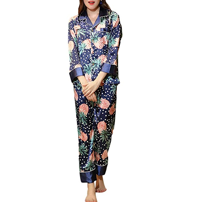 Zhhlinyuan Sexy Ropa de dormir para Mujer manga Larga Pijama Conjunto Satín Seda Azul Marino Casual