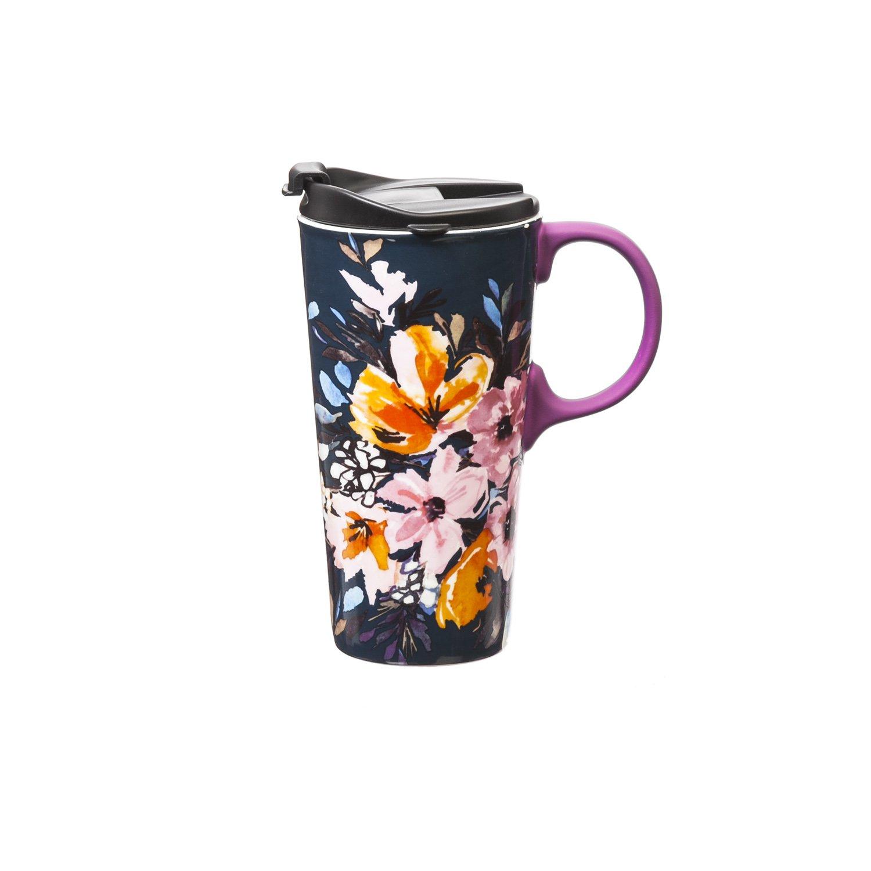 Cypress Home Watercolor Boho Ceramic Travel Coffee Mug with Gift Box, 17 ounces