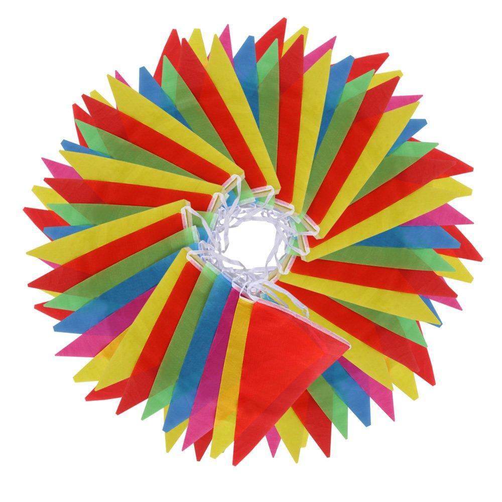 Vicloon Multicolor Banderín 100 Banderas de Poliéster Bunting Bandera de Triángulo Decoración Banderas Decorativas de Tela de Poliéster para el Partido Jardín al Aire Libre y Otras Fiestas VBPAZKALIJ5147