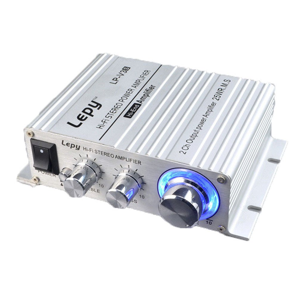 Lepy LP-V3s Hifi Stereo Power Digital Amplifier with 3.5mm Audio Input for iPhone Computer MP3 (Silver)